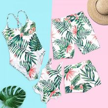 Family Matching Summer Bikini Bohemian Tropical Leaves Floral Printed Swimsuit Mom Dad Girls Boys Shorts Ruffles Patchwork Beach
