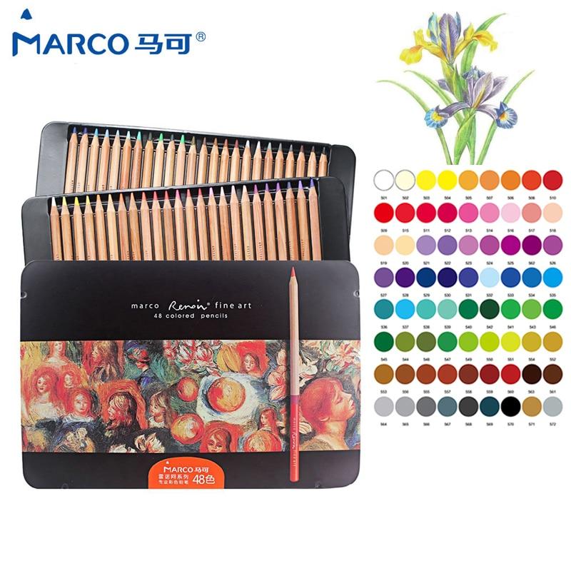 цена Marco Renoir 24/36/48/72/100 professional Oily Color Pencils lapices de colores for Coloured Drawing Pencil Set Art Supplies