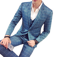 (blazer + vest pants) suit three-piece British style slim plaid banquet groom wedding dress design S-5XL