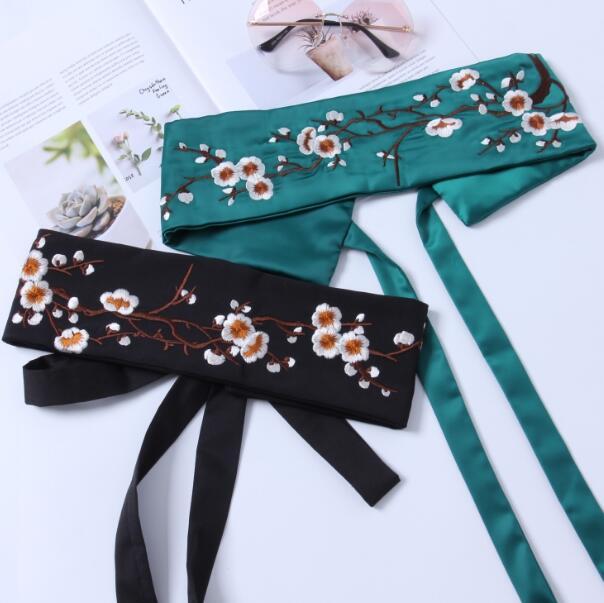 Women's Runway Fashion Flower Embroidery Satin Cummerbunds Female Dress Corsets Waistband Belts Bow Decoration Wide Belt R1000