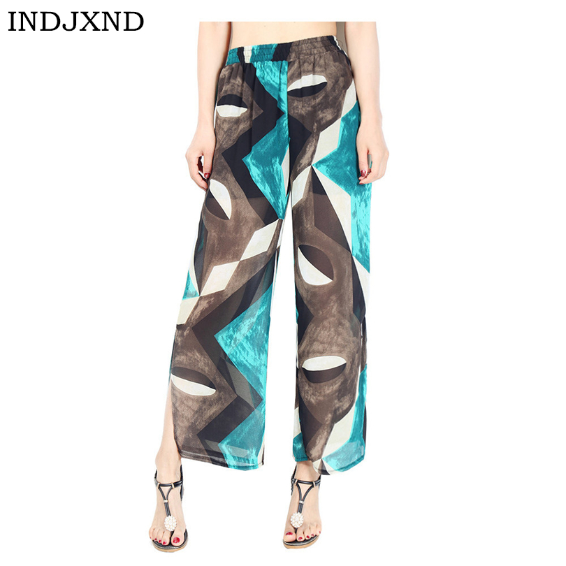 INDJXND Women's Clothing Ultra-Wide-Leg Trousers Bohemian Ladies Nine Comma Loose Print All-Match Chiffon Skirt   Pants     Capris
