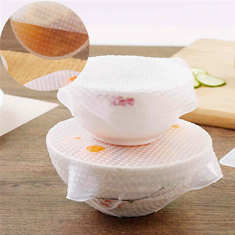 4pcs Silicone Food Wrap Reusable Seal Food Fresh Keeping Wrap Lid Cover Stretch Vacuum Food Wrap Kitchen Tools Accessories