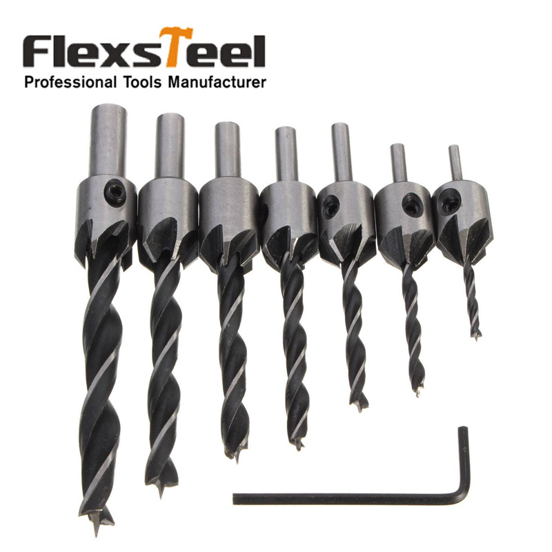 Flexsteel 8pcs HSS 5 Flute Countersink Drill Bit Deburring Tool Set Carpentry Reamer Woodworking Chamfer End Milling 3mm-10mm autotoolhome 7pcs hss 5 flute countersink drill bit set carpentry reamer core woodworking chamfer 3mm 10mm for wood drilling