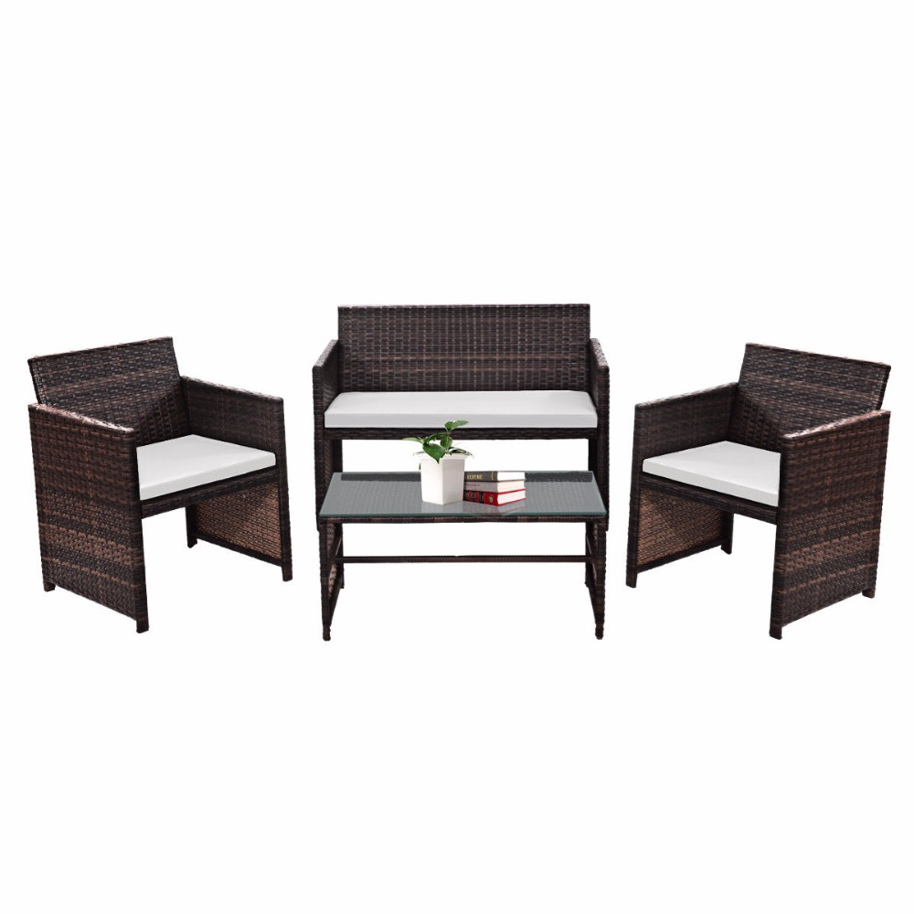 COSTWAY 4 PC/Set Outdoor Rattan Patio Furniture Set Garden Lawn Sofa Cushioned Seat Wicker Sofa Tables And Chairs Set HW57031