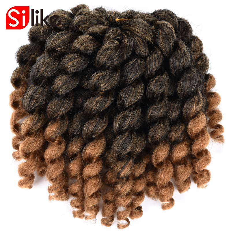 Silike 8 inch Ombre Jumpy Wand Curl Crochet Braids 22 ...