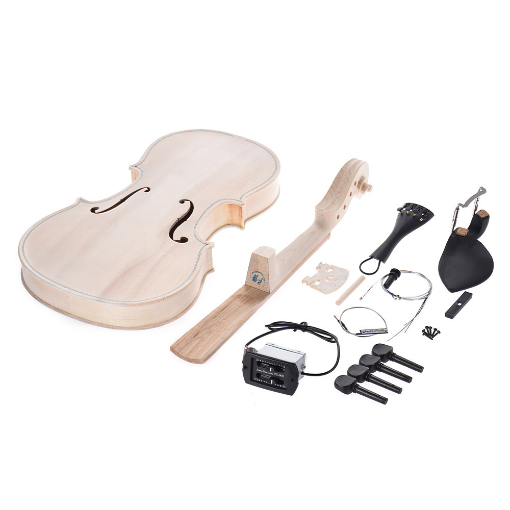 High Qulity 4 4 Full Size DIY Violin Kit Natural Solid Wood Acoustic Violin Fiddle Kit