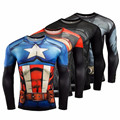 2016New Fashion Compression Shirt Men Superman Captain America Batman Spiderman Iron Man Fitness Crossfit tshirt Male Clothing