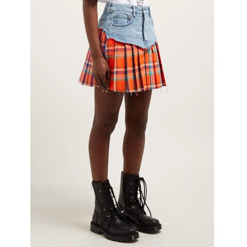 2019 printemps été ecossais plaid couture Denim jupe Mini jupe mode courte jupe
