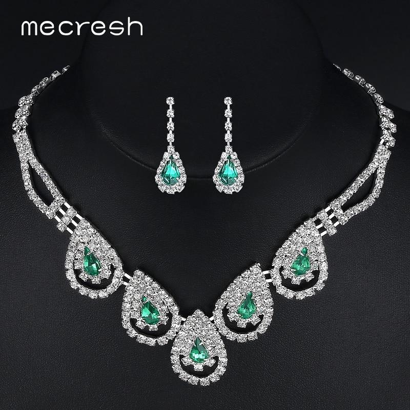 Mecresh zöld kristály afrikai ékszer szett klasszikus vízesés menyasszonyi nyaklánc fülbevaló szett esküvői party karácsonyi ajándék TL008