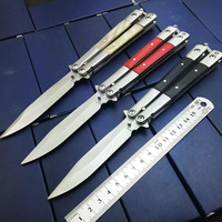 Butterfly In Knife Stainless Steel Blade NO Sharp Metal Handle With Wooden Acrylic 3 Styles High