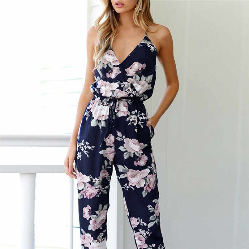 Fashion High Quality Charming Women Backless Jumpsuit Sleeveless V-Neck Floral Printed Playsuit Party Trousers Elegant #30