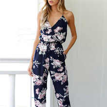 Fashion High Quality Charming Women Backless Jumpsuit Sleeveless V-Neck Floral Printed Playsuit Party Trousers Elegant #30(China)