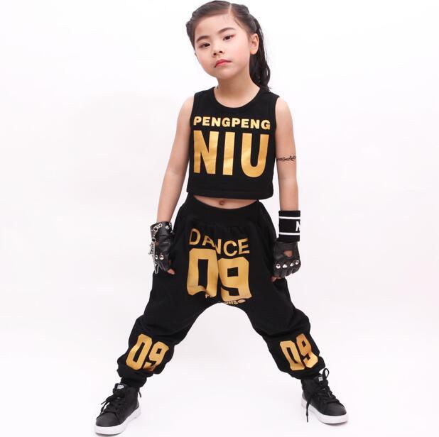 eff0e9c83 Casual infantil Define Ternos Crianças Moda Verão Roupas de Hip Hop  Conjunto Traje de dança Roupas