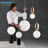 Pearmon Modern Milk Globe Glass Pendant Lights For Dining Room Bar Restaurant Deco Kitchen Room Hanging