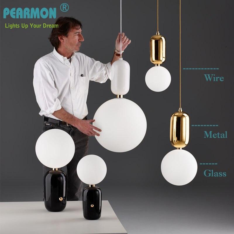Pearmon Modern Milk Globe Glass Pendant Lights For Dining Room Bar Restaurant Deco Kitchen Room Hanging