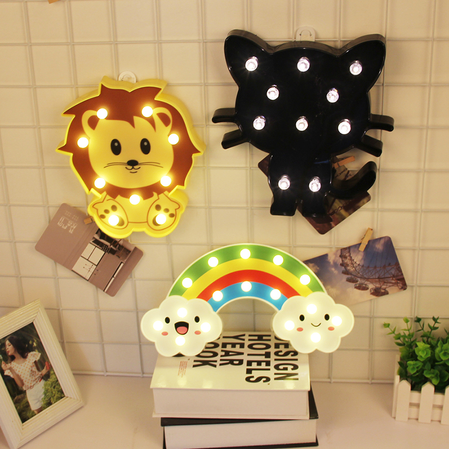 LED Night Lights Animal 3D Lights Rainbow /Cat /Lion Marquee Sign Letter 3D Lamp for Bedroom Baby Sleeping Night Light Gifts Toy