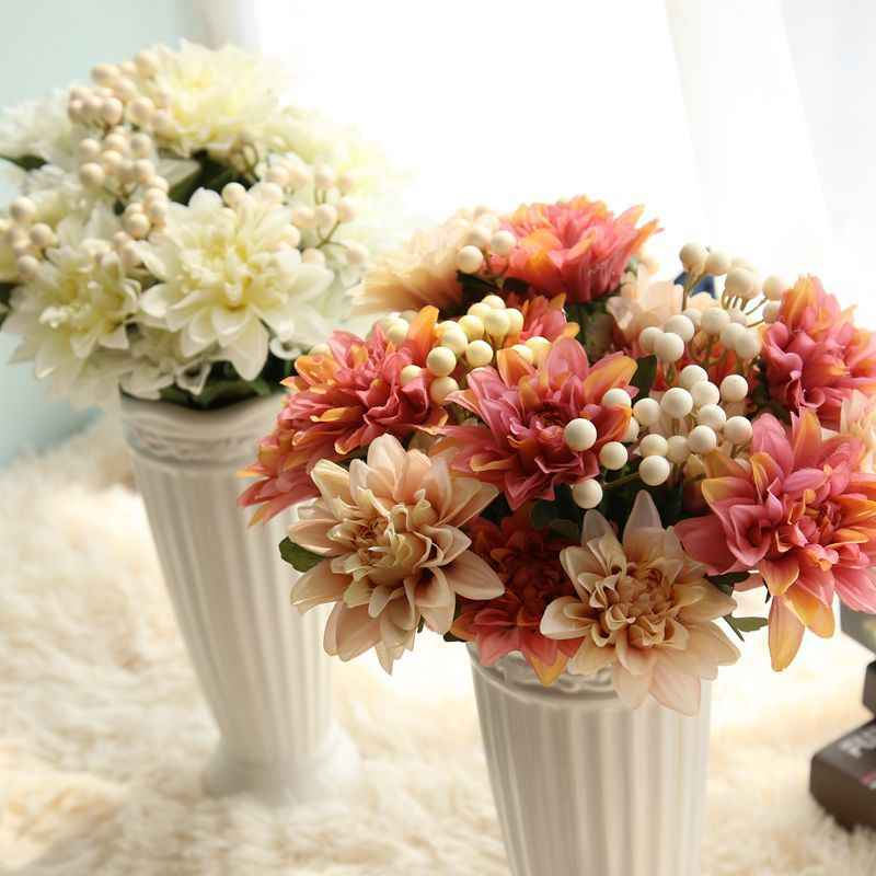 1 Pieces  Real Touch silk artificial wedding bride bouquet flowers simulation vivid fake dahlia flower home party decor