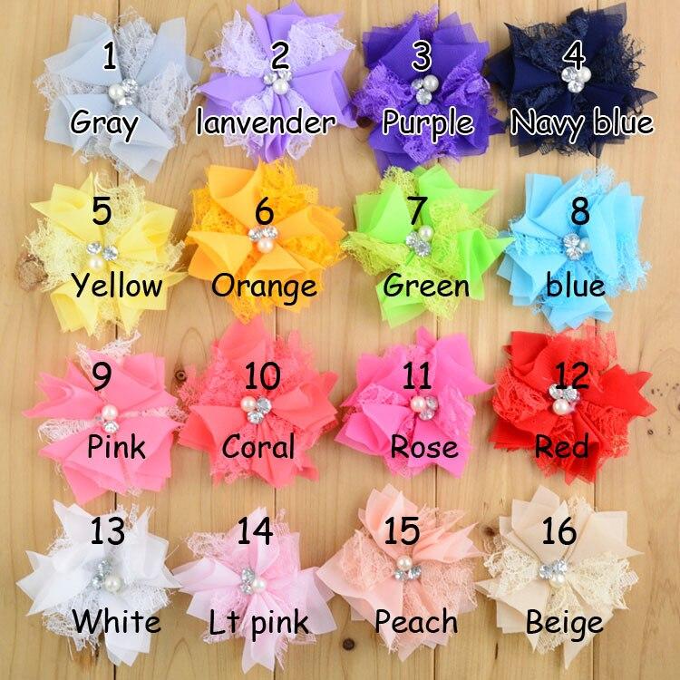 120pcs lot 3 4 16colors Newborn Chiffon Flower Rhinestones Pearls For Kids Hair Accessories Lace Fabric