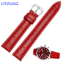 JUNSI Produced Dimensional Way Calfskin Leather Watch Band Female Black Red Leather Watchband For CASIO