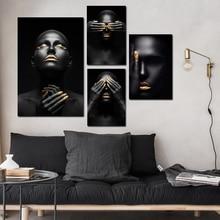Молитва Черная Макияж Девушка Vintage Scroll Холст Картины Рамка Арт-Постеры и Принты Плакат