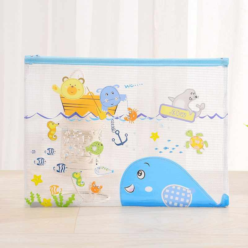 1pc A5 Cartoon Animals PVC Document Bag File Folder Waterproof Transparent Bag with Zipper School Office Supplies