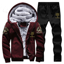 Men Sports Suit Winter Keep Warm Mens Gym Sportswear Sets Thickening Fleece Lining Hooded Tracksuit Male Running Jogging Suits
