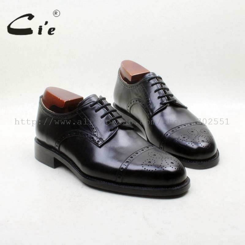 cie Free Shipping Bespoke Handmade Round Cap Toe Carved Hole Derby Shoes Lace-up Solid Black Calf Leather Men Office Shoe D226 cie free shipping bespoke handmade embossed ostrich calf leather bottom breathable goodyear welted lace up derby men shoe d225