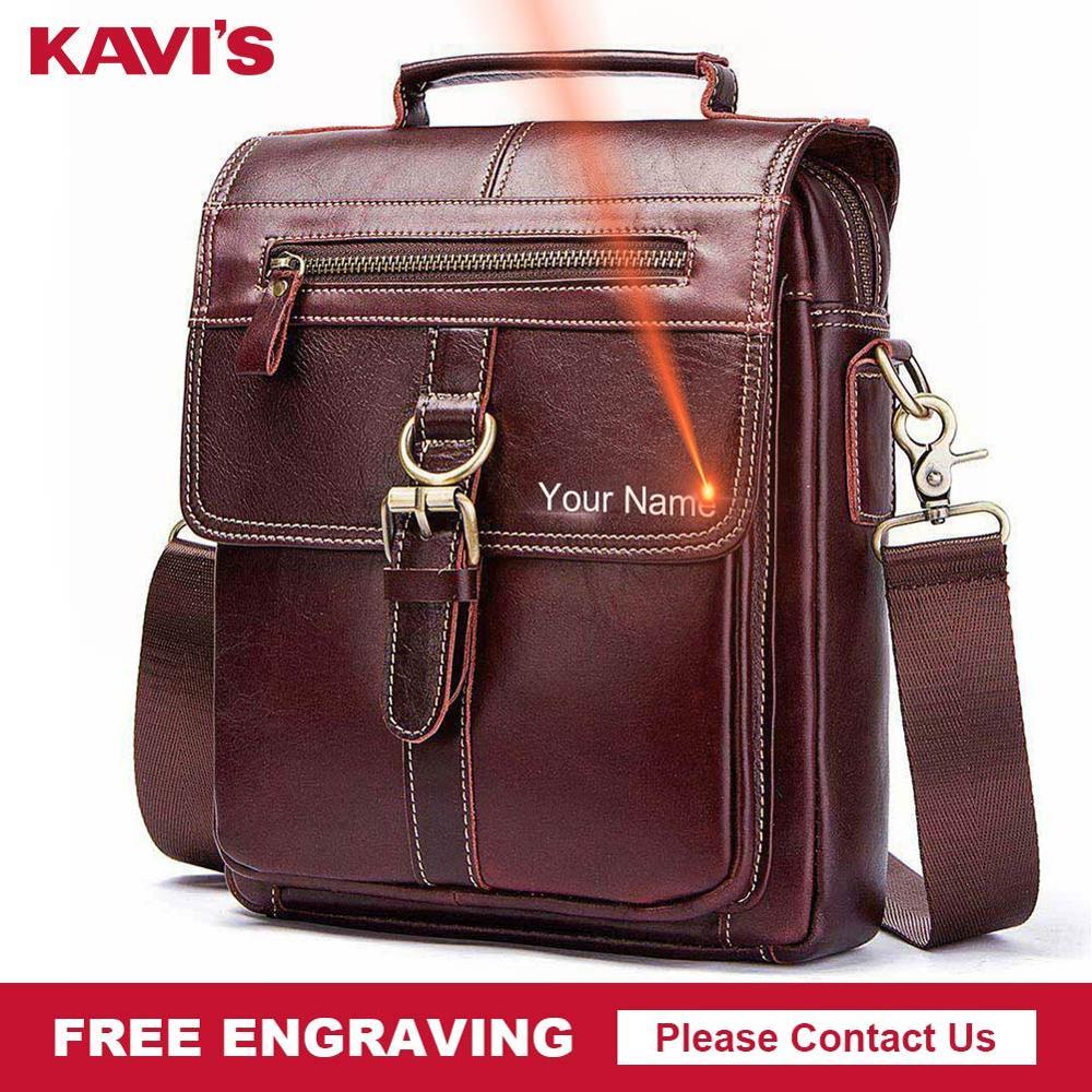 KAVIS Free Engraving Genuine Leather Messenger Bags Men High Quality Handbag Bolsas Travel Brand Design Crossbody