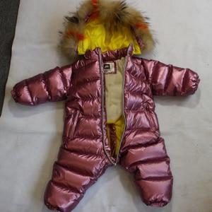 Image 2 - 803 חורף 30 תואר סרבל תינוק הסווטשרט טבע פרווה חליפת שלג סרבל ילדי אופנה בגדים חמים בני בנות למטה מעיל