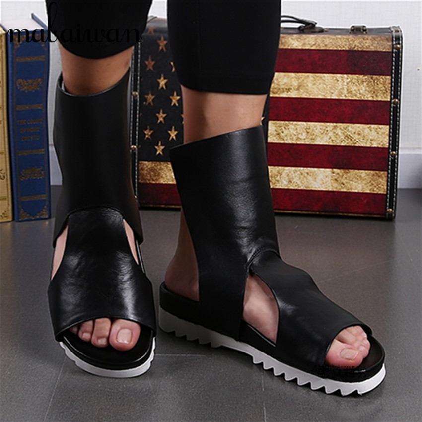 2017 Summer Punk Style Men Sandals Gladiator Slippers Black Casual Flat Shoes Sandalias Hombres Platform Flats Creepers gladiator sandals 2017 summer style comfort flats casual creepers platform pu shoes woman casual beach black sandals plus us 8