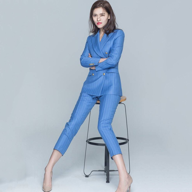 Jaqueta Feminina Women Top Fashion New Women's Striped Suit Ladies Casual British Style Stripes Temperament Two-piece Female