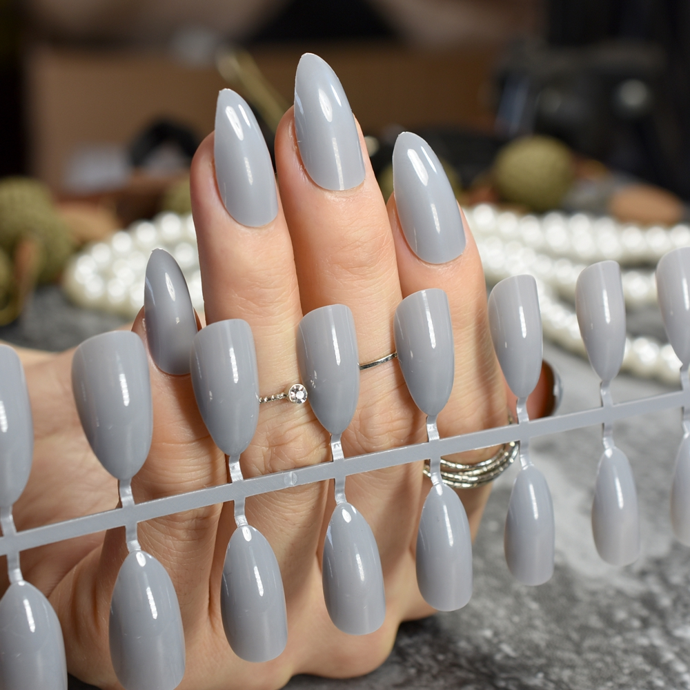 Grandma Grey Shiny Fake Nails Grace Stylish Stiletto Press On DIY Manicure Tips Full Wrap