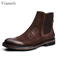 New Handmade Ankle Chelsea Boots Men Genuine Leather Dress Boots Work Shoes Man Size 45 men0064 цены онлайн