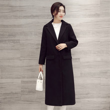 Women's Black Wool Coats Autumn Winter Long Coat 2016 New Design Warm X-Long Oversize Imitation Cashmere Overcoat C214