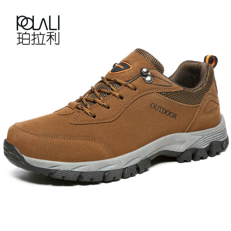 POLALI Men Big Size 49 Hiking Shoe Mens Flock Comfortable Outdoor Sport Shoes Lace Up Spring