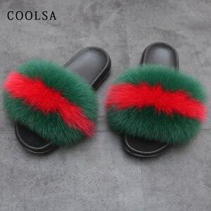 Image 5 - Letnie damskie futrzane sandały prawdziwy lis kapcie futrzane kobiece futrzane solidne kryte klapki sandały plażowe miękkie puszyste futro slajdy