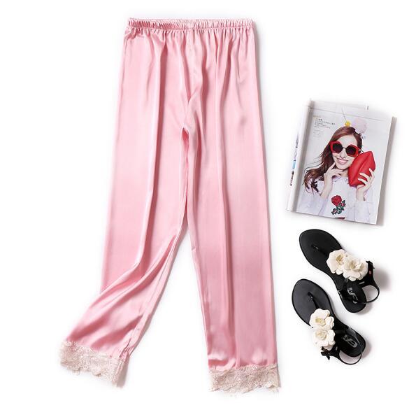 Casual Silk Lace Pajama Pants Sleepwear Women Home Pant Large Size Long Sleeping Pant Pijama Pants Ladies Trousers
