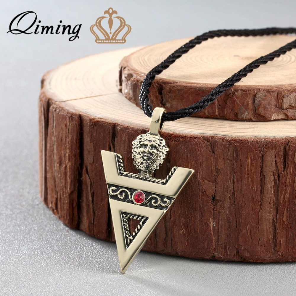 QIMING Vintage Men Necklace VELES Sign of Veles lavic Culture Pagans Sign Silver amulet Veles Amulet Handcrafted Jewelry Women