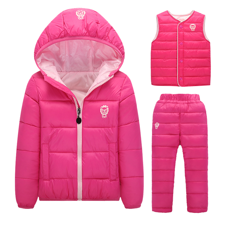 2016 Kid Winter Baby Girls Boys Clothes Sets Children Down Cotton-padded Coat+Vest+Pants Kids Teenag Warm Outdoot Suits Ski Sets baby winter warm ski suits thick down