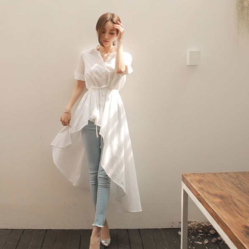 Autumn New Girls Wild Dovetail Stripes Fashion Solid Color Shirt Dress Tide