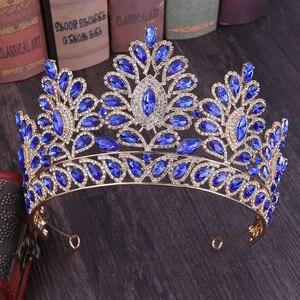 Image 5 - KMVEXO 2019 New Vintage Baroque Tiara Crowns Queen King Bride Pink Crystal Crown Pageant Bridal Wedding Hair Jewelry Accessories
