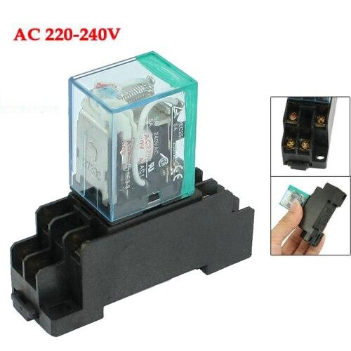 EWS 220/240V AC Coil DPDT Power Relay MY2NJ 8 Pin w Socket Base