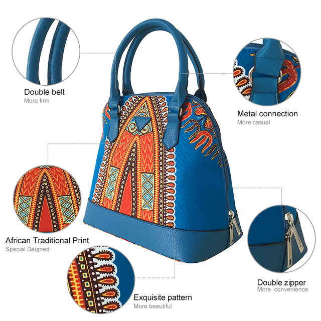 FANS FACE Traditional African Print Bags Female Shopping/Party Luxury Handbags Women Blue Bags Designer afrikanische kleider 1