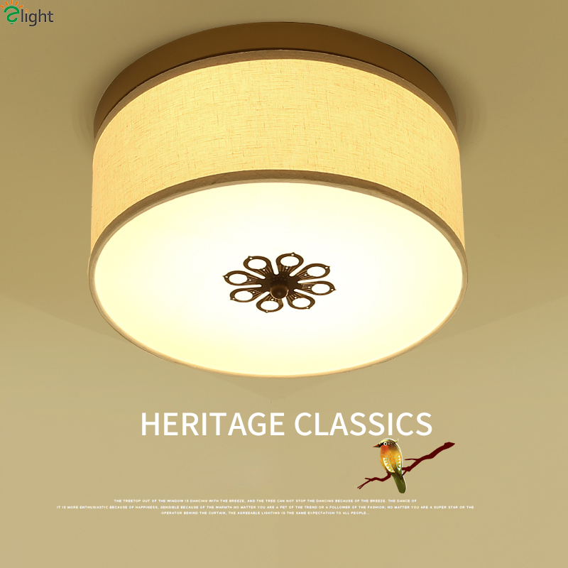 American Retro Iron Led Ceiling Lights Simple American Fabric Bedroom Led Ceiling Lamp Dining Room Led Ceiling Light Fixtures removable bluetooth keyboard pu leather cover case