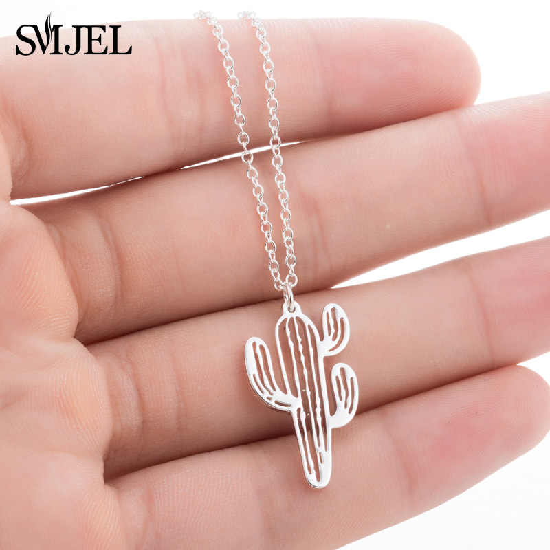 SMJEL Bohemian Cactus Necklaces & Pendants Women Natural Plant Jewelry Sliver Chain Choker Saguaro 2019 Birthday Gifts Bijoux