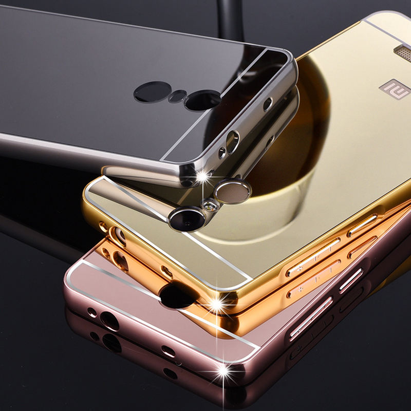 more photos f479a a9ec5 US $3.61 |Shiny Mirror Case For Red Mi Note3 Aluminum Frame + Hard PC  Plating Back Cover For Xiaomi Redmi Note 3 3 Pro Metal Phone Cover on ...