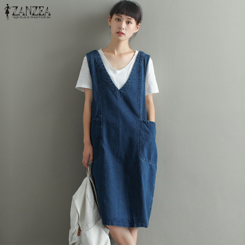 ZANZEA 2018 Women Denim Dress Casual V Neck Sleeveless Loose Solid Dress Fashion Plus Size Big Pockets Dresses Vestido De Festa ...