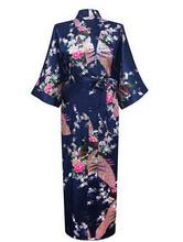 RB015 Satin Robes pour les Mariées De Mariage Robe de Nuit Soie Pijama Peignoir Occasionnel Animal Rayonne Longue Chemise de Nuit Femmes Kimono XXXL(China (Mainland))