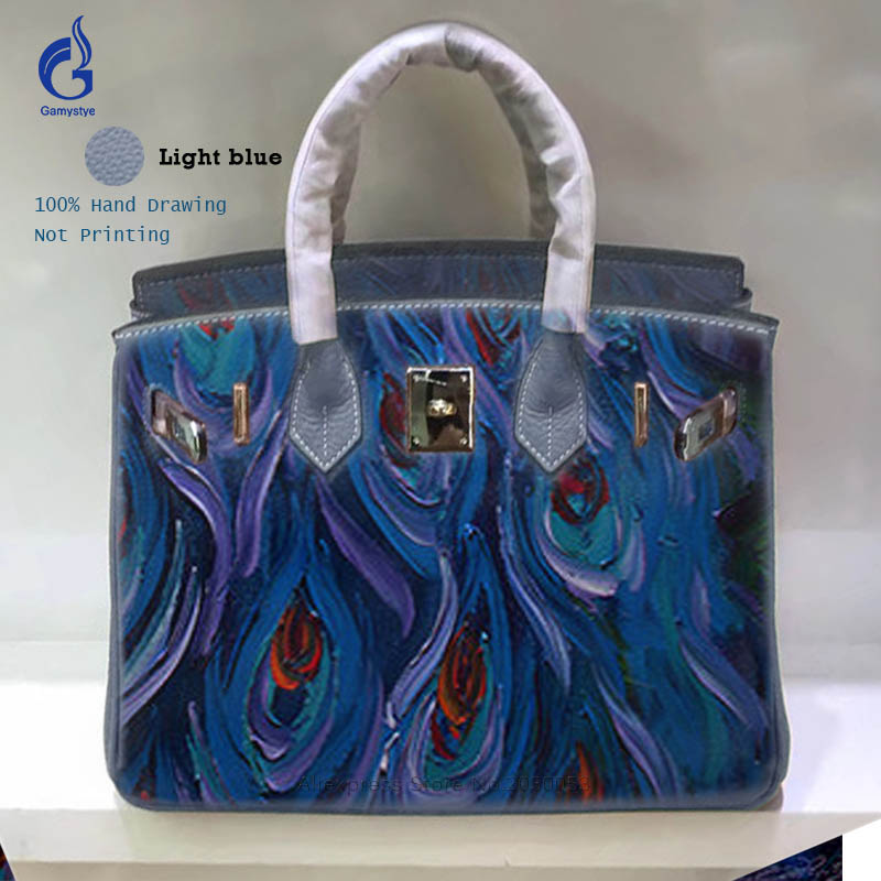 Genuine Leather Bag Hand Drawing Graffiti Peacock Feather Hand Bags Women Leather Casual Totes Bag Hardware Painted Clutch Bag Y women top handle bags yellow real genuine leather hand bags hand painted graffiti totes with hardware sac a main messenger bag y