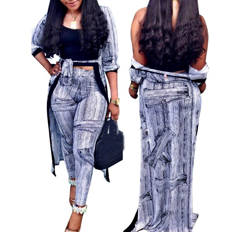 Automne imprimé femmes correspondant ensemble à manches longues Cardigan Kimono manteau hauts + Legging pantalon costume décontracté deux pièces ensemble dames Oufits